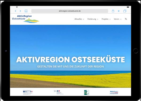 Referenz-Website auf Ipad Aktivregion Ostseeküste