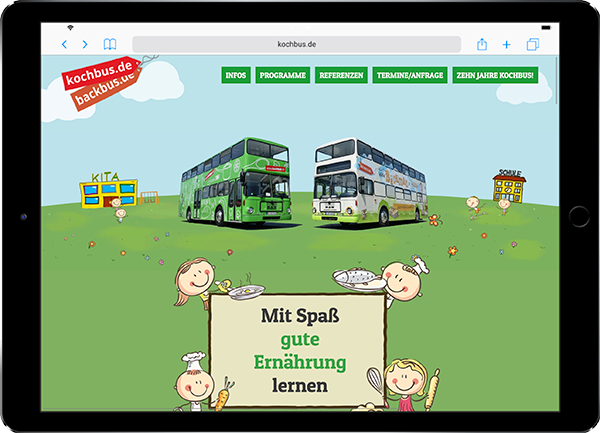 Referenz-Website auf Ipad Kochbus