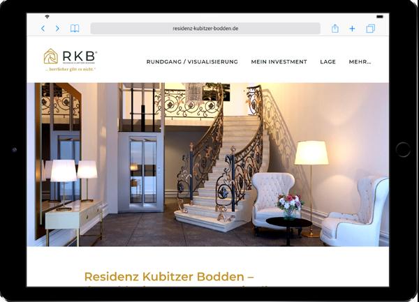 Referenz-Website auf Ipad Residenz Kubitzer Bodden